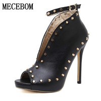 New Europe Popular Street Beat Rivet Shoes High Heeled Catwalk Sexy Rome Ankle Buckle Strap PU