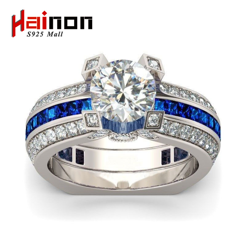 Luxury Female purple Ring Set Bridal Sets High Quality white Gold Filled Jewelry Vintage promise Rings For Women Girlfriend Gift