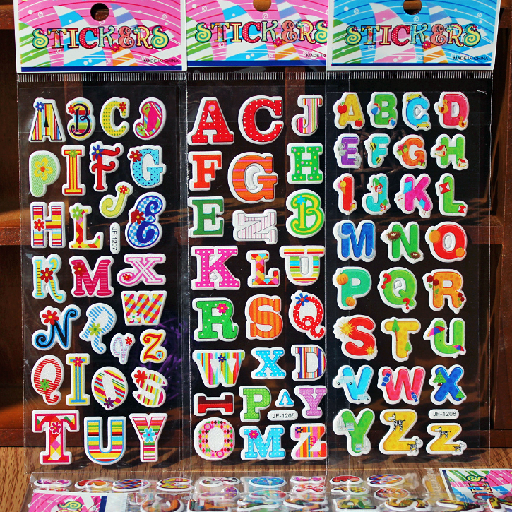 6pcs Non-repeated Kids Sticker Sheets Children 3D Foam Sticker Alphabet Bubble Stickers Puffy Stickers NOT for Nail