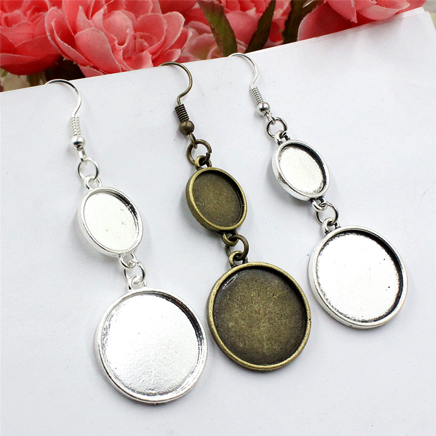 Fit 12mm And 20mm Metal Flat Gourd Round Blank Setting Bezel Base Cabochon Earring Base For DIY Earring Gift 10pcs/lot K05498