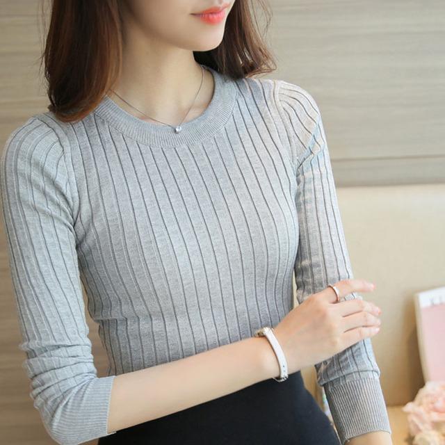 Camiseta de algodão mulheres t-shirt camiseta de malha casual tops de manga longa camiseta femme camisetas femininas poleras de mujer 2017
