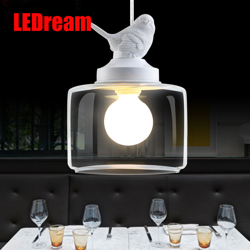 Contemporary and contracted creative personality retro art glass <font><b>chandelier</b></font> cafe restaurant study lamps act the role of milan