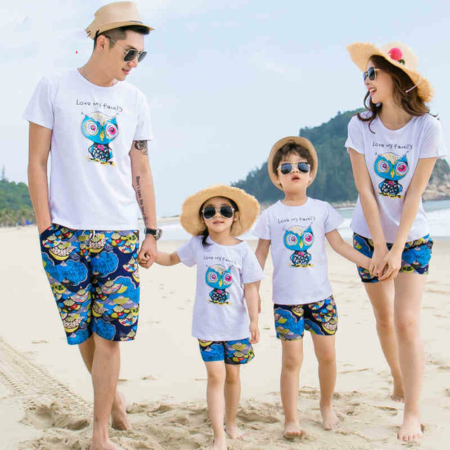 4402ca5db9b 2019 Summer New Family Matching Clothing Outfits mother son daughter father  sets White T-shirt + Blue Pants Family Look