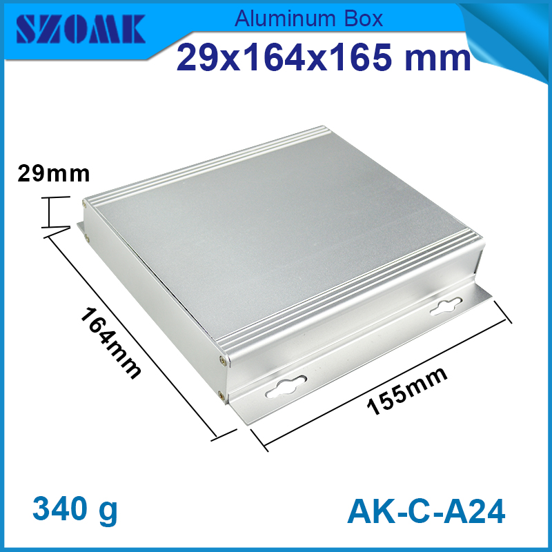 1 piece free shipping aluminum enclosure project case 29(H)x164(W)x155(L) mm for electronics case housing junction box
