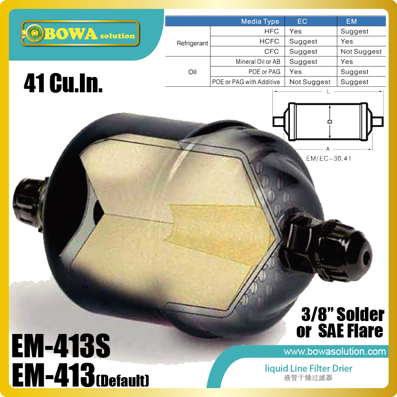EM-413 liquid line filter driers are installed in kinds of cold room equipments or refrigeration tunnel equipments fda 489 replaceable core filter driers are designed to be used in the liquid and suction lines of air conditioning systems