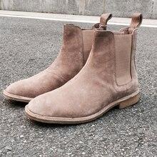 2017 New Chelsea boots men brand designer martin style slp Genuine Leather ankle boots men tan west boots men shoes