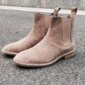 Botas Chelsea slp Genuíno dos homens grife Novo estilo martin botas ankle boots de Couro homens tan ocidental Do Vintage sapatos masculinos