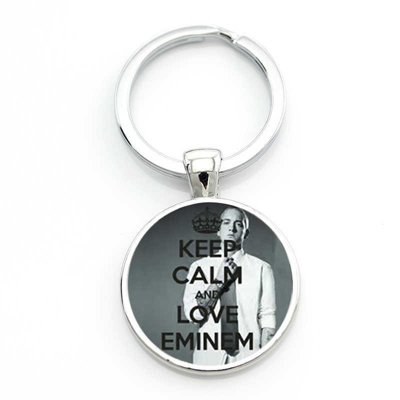 Nowy w stylu vintage Eminem brelok mężczyźni kobiety fajne hip-hop Rap singer szkło cabochon brelok do kluczy pierścień uchwyt na samochód torba biżuteria CT32