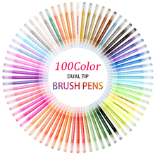 100Color Dual Brush Pen Fineliner Tips Drawing Painting Watercolor Marker Coloring School Supplies