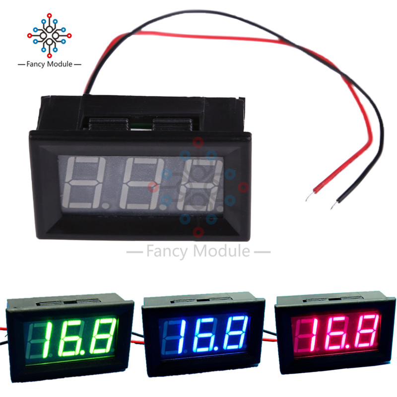 <font><b>2</b></font> Wire 0.56 Inch LED Digital Voltmeter Red Green Blue Voltage Meter Volt Detector Tester Monitor for Vehicle Car Mini <font><b>DC</b></font> <font><b>5</b></font>-120V image
