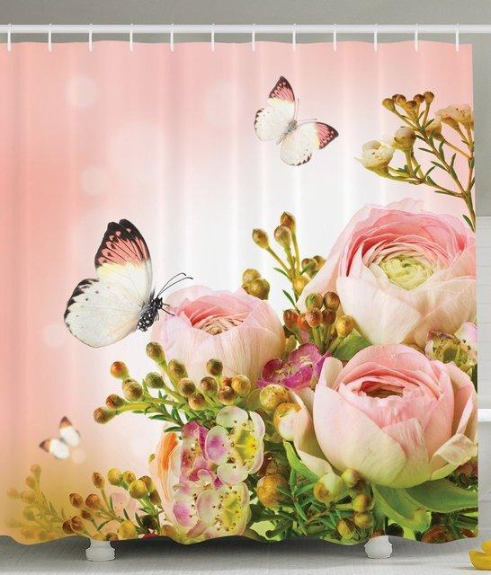 Speicher Hause Blumen Duschvorhang Rosa Rosen Blume Blätter ...