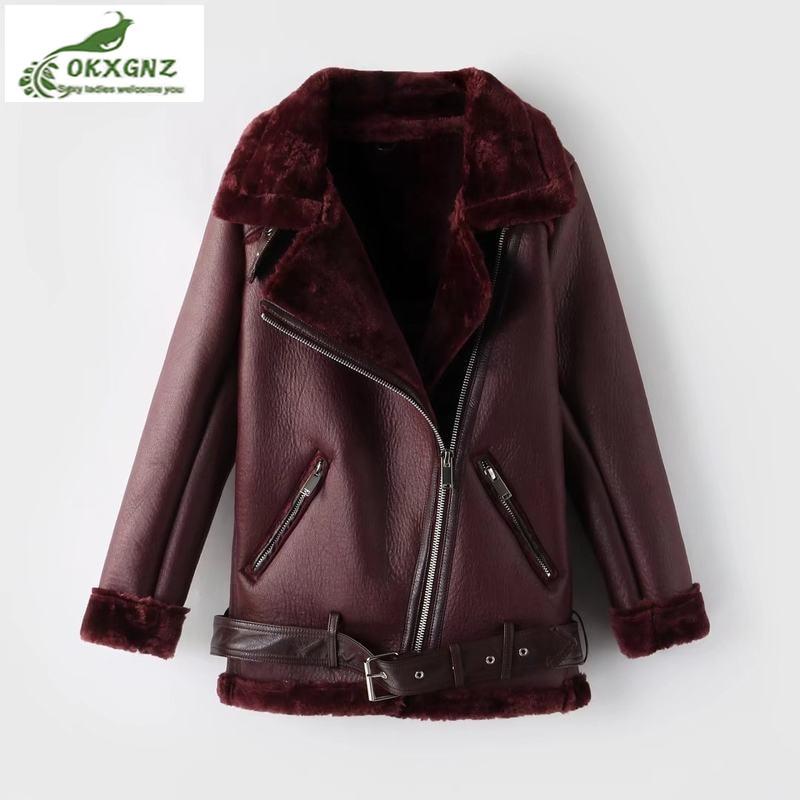 Women Winter Imitation   leather   Jacket Female Natural Sheep Fur Coat Sheepskin Coat PU   Leather   Jacket With Shearling Trim Jacket