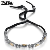 ZABRA 925 Sterling Silver Vintage Skull Religion 6mm Rope Bracelet Men Women Virgin Mary Gold Color Multi Color Bracelets Women