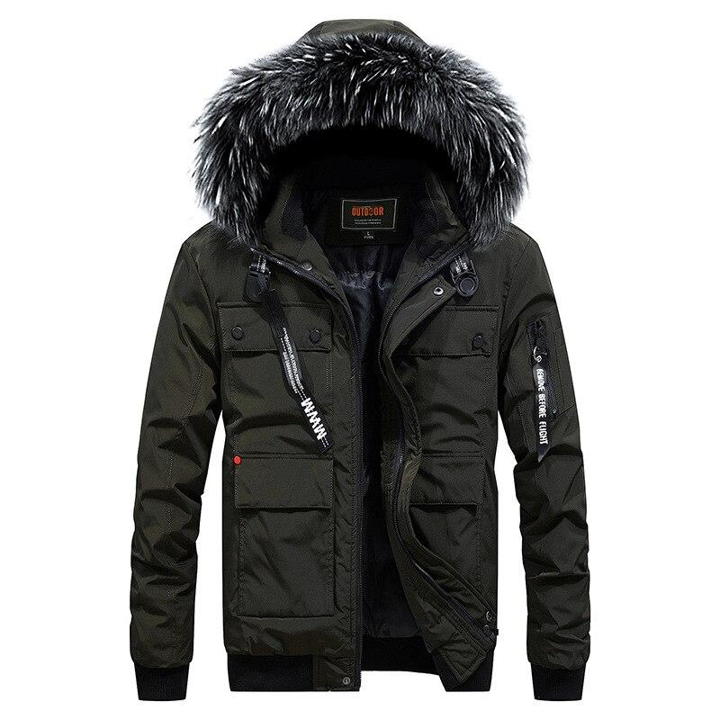 Прямая доставка парки Для мужчин Модная зимняя куртка Термальность с капюшоном теплая Повседневное человек меховой капюшон пальто Верхняя...
