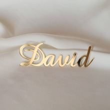 Personalized Laser Cut Place Name Setting Guest Name Silver / Gold Mirror Acrylic Place Card Decor Wedding Party Centerpiece