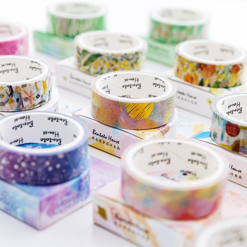 Starry Sky Forest Flower Unicorn Laser Gilding Decorative Washi Tape Adhesive Tape DIY Scrapbooking Sticker Label Masking Tape