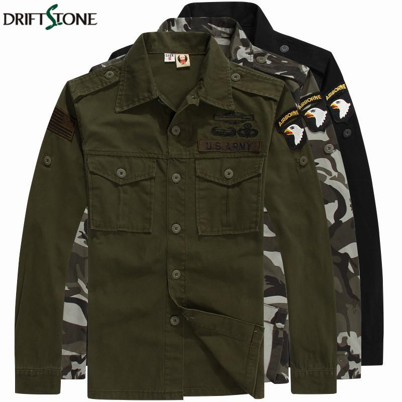 Military Shirt Men 101 Airborne Tactical Cotton Men's Combat Army Shirts Plus Size Long Sleeve Male Shirt Camisa Militar DSS-001