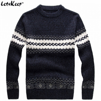 New LetsKeep 2016 Men S Knitted Sweater Patterns Striped Thick Pullover Sweaters Winter Casual Round Neck
