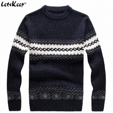 New LetsKeep 2016 men's knitted sweater patterns Striped thick pullover sweaters winter casual round neck wool sweater men,MA270
