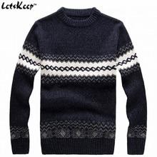 Новый LetsKeep 2016 мужской вязаный свитер шаблоны Полосатый толстые свитера пуловеры зима повседневная шею шерстяной свитер мужчин, MA270