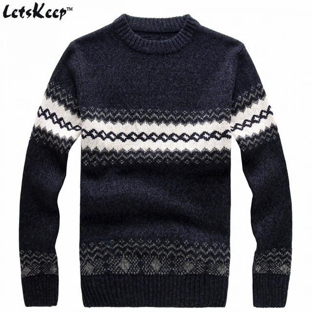New Letskeep 2018 Mens Knitted Sweater Patterns Striped Thick