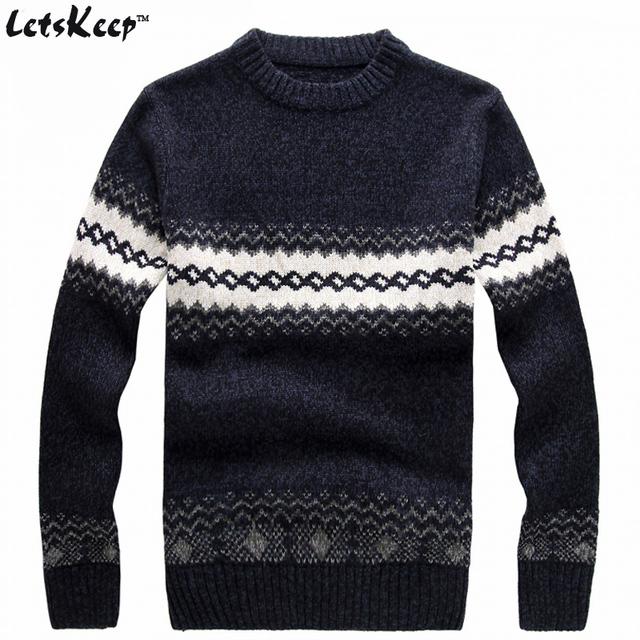 Nova LetsKeep 2016 padrões de camisola de malha Listrado pulôver blusas grossas de inverno dos homens casual em torno do pescoço suéter de lã dos homens, MA270