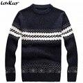 Nueva LetsKeep 2016 hombres suéter de punto patrones de Rayas gruesas suéteres jersey de invierno informal de lana de cuello redondo suéter de los hombres, MA270