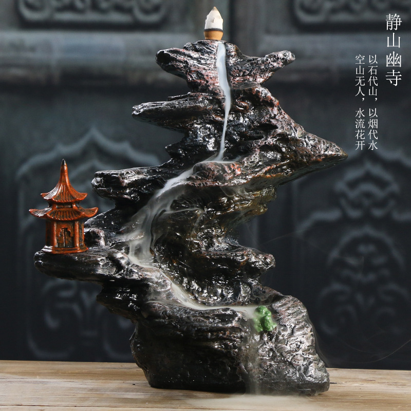 Encens Humidifier Aroma Stove Handicraft Furnishing Articles Mountain Stream Cheng San Temple Sandalwood Put Back The Clock cascada de incienso