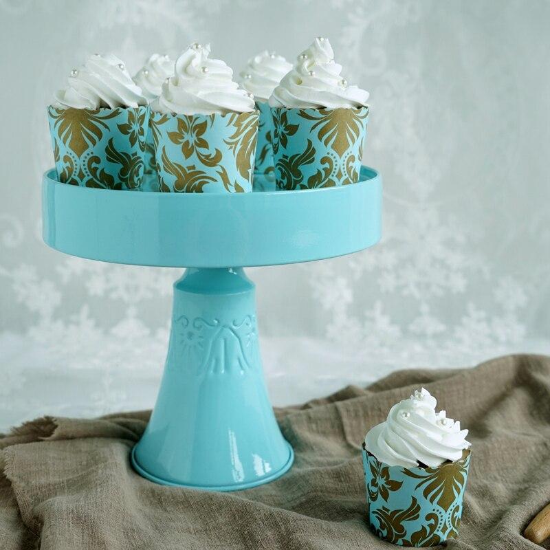 Support de gâteau vintage bleu Tiffany métal stand up cupcakes titulaire cakepops table décoration bonbons bar fournisseur de fête