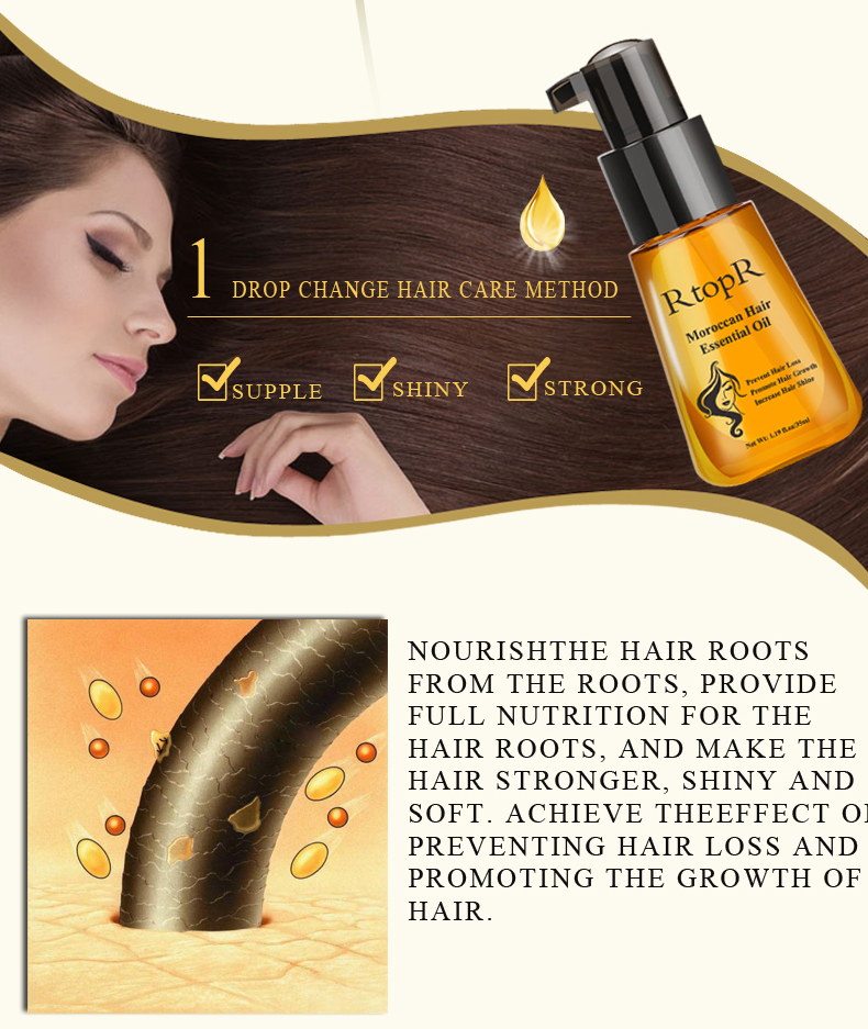 Hair Growth Essence Hair Care Treatment For Men And Women Moroccan Hair Loss Essential Oil Repair Hair Root 5PCS
