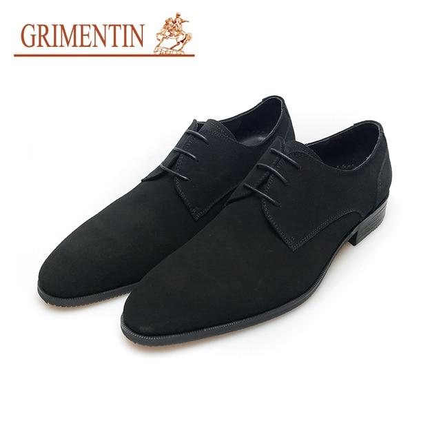 04019d6767 GRIMENTIN pelle scamosciata scarpe da cerimonia uomo vera pelle nera blu  lace up scarpe da uomo d'affari di lusso classico uomo scarpe da sposa