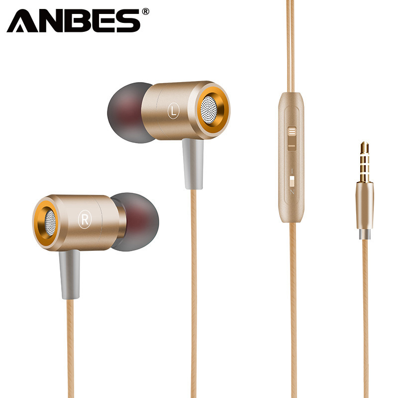 ANBES Sport Super Bass Stereo Metal Earphone Waterproof Hands Free Headphone with Micphone Music Headset for Phone PC tablet