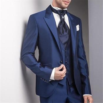 2018 Latest Design Blue Wedding Groom Men Suit 3pieces(Jacket+Pant+Vest+Tie) Terno Bespoke Slim Notch Lapel Custom Made Blazer