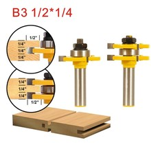 2Pcs Tongue & Groove Router Bit Set 1/2 Inch Shank 3 Teeth T-shape Wood Milling Cutter flooring knife