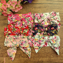 12pcs/lot Cotton Fabric Large Flower Bow Hair Bands Headwear Sakura Floral Print Headbands Girls Hair Accessories