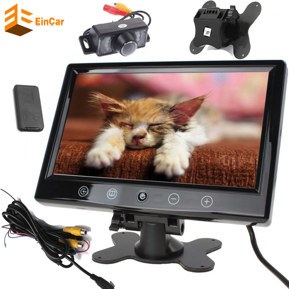camera+9 Inch TFT LCD Screen Car Rear View Mirror Monitor Support Two Auto Ways Widescreen Car Rear View Monitor With Touch key 180 16 9 fast fold front and rear projection screen back