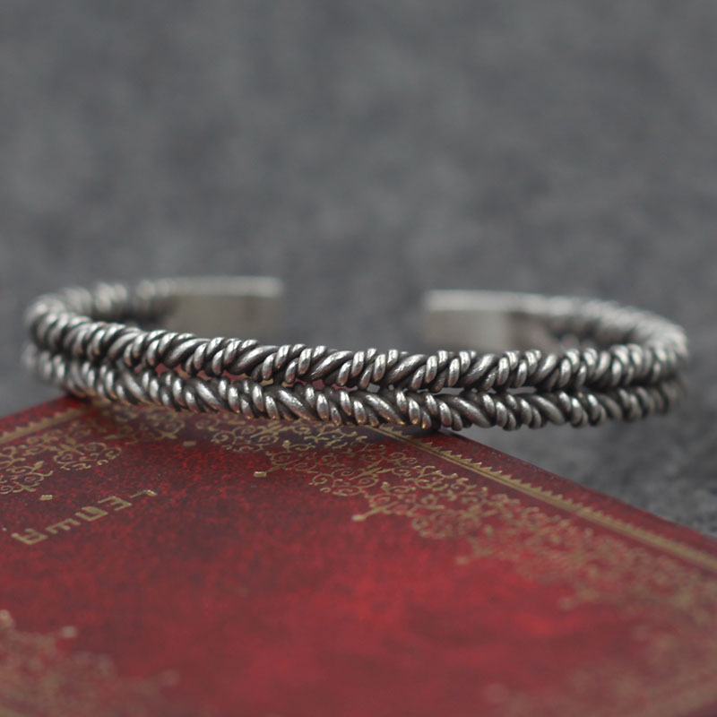 Thailand Chiang Mai Handmade Silver S925 Sterling Silver Flat Beads Double Ring Retro Thai Silver Men And Women BangleThailand Chiang Mai Handmade Silver S925 Sterling Silver Flat Beads Double Ring Retro Thai Silver Men And Women Bangle