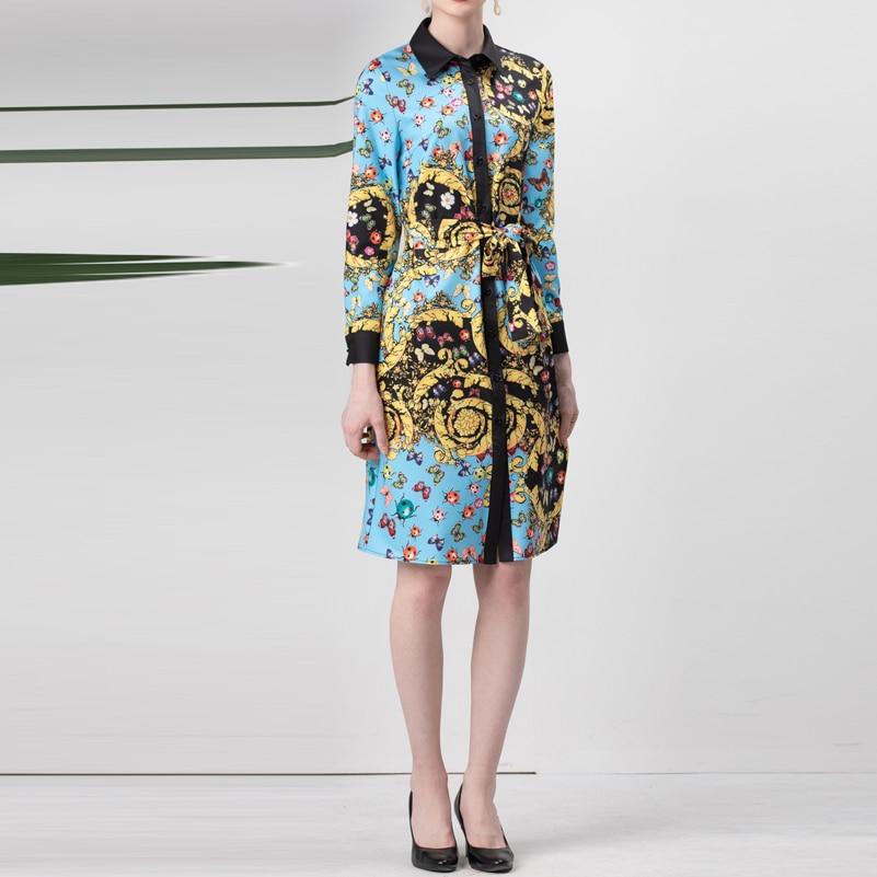Modo Estate Maniche A 2019 Qualità Lunghe Insetto Progettista Di Cielo Vestito Floreale Delle Split Del Vintage Alta Azzurro Nuovi Donne Stampa Blu Elegante pnIp07