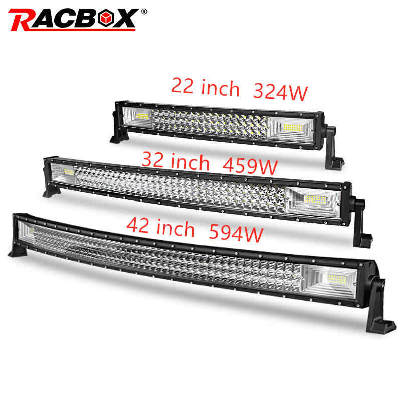 324W 459W 594W 22 32 42 Inch Curved LED Light Bar beam offroad 12V 24V for rampe 4x4 UAZ ATV Kamaz off road Work LED headlights