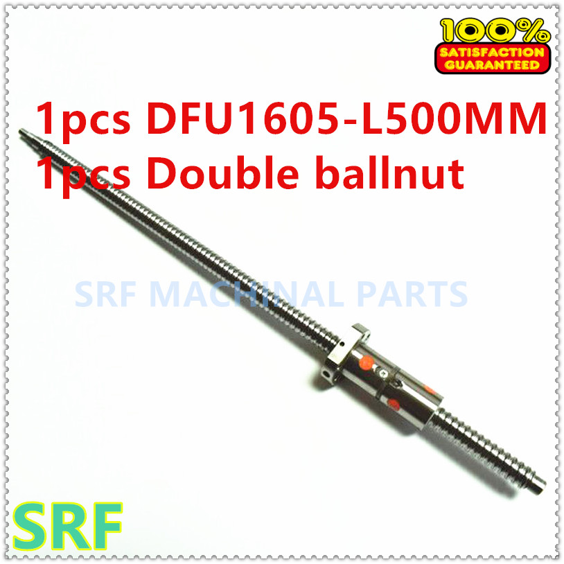 Zero Backlash 1pcs 16mm DFU1605 Rolled Ball Screw L=500mm With 1605 Double Ball Nut For CNC Part
