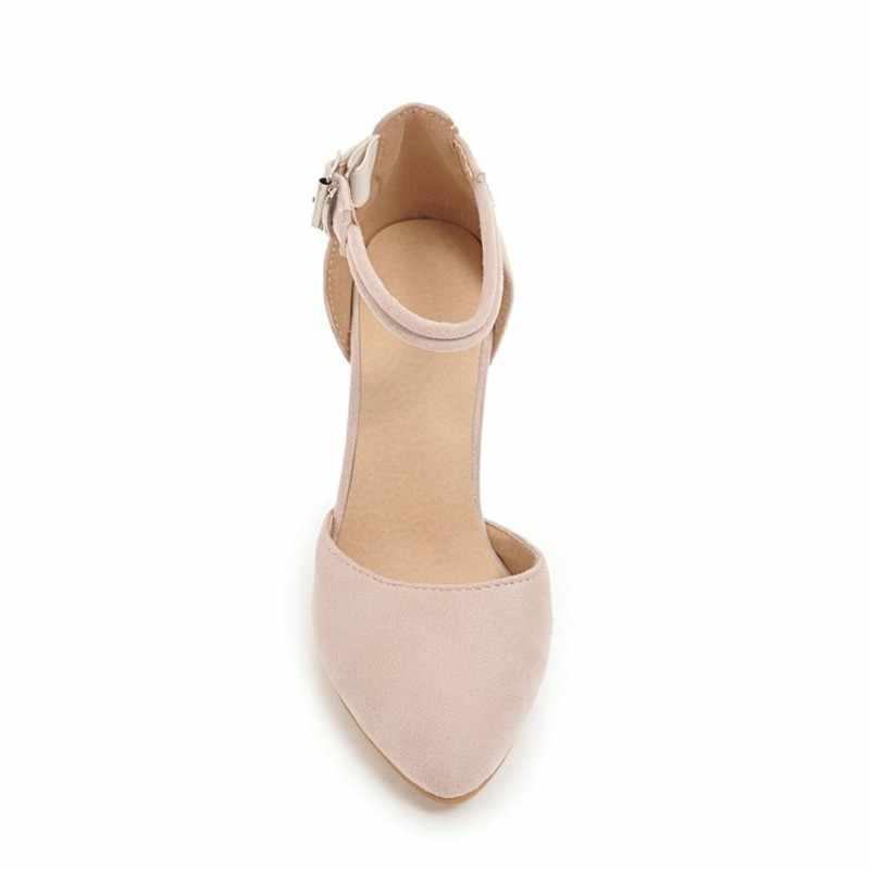 Kadın pompaları süper yüksek topuklu ayakkabı ilkbahar sonbahar akın sivri burun toka Strap2018 seksi moda siyah gri bej pembe Size34-46