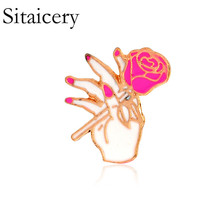 Sitaicery Pink Pins And Brooches Lips Rose Heart Flower Badges Collection Vintage Lapel Womens  Accessories