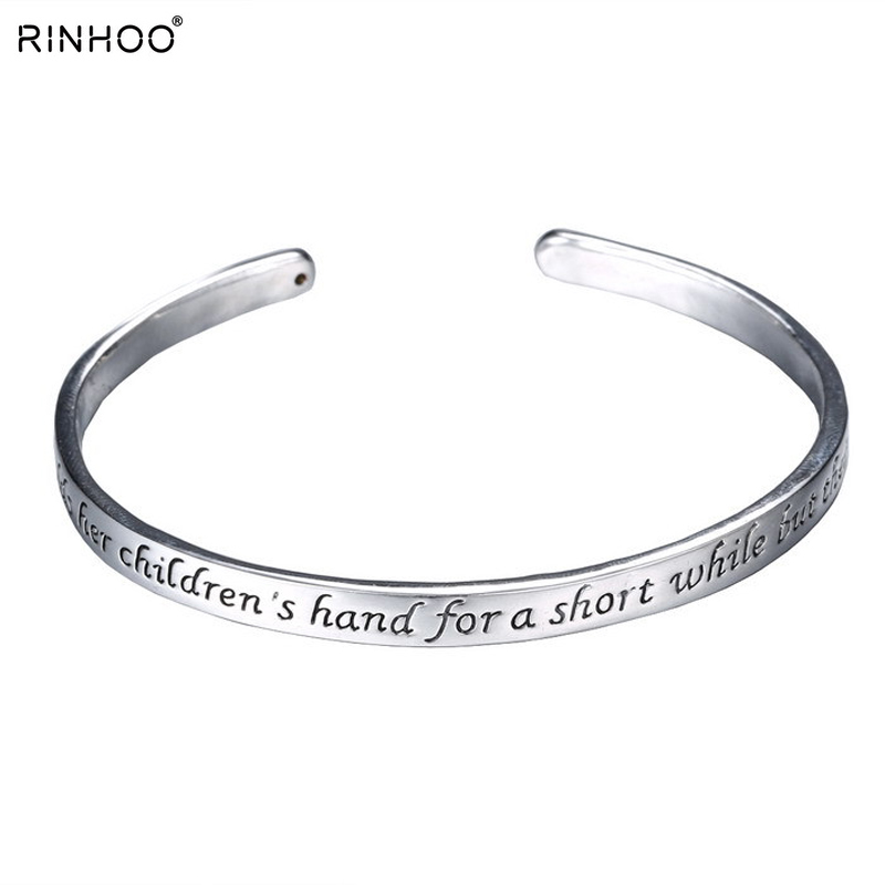 Family Gifts Mothers Day Gifts Bangle Rhodium Plated bracelets A Mother Holds Her Childs Hand Heart bangles Cuff Bracelet