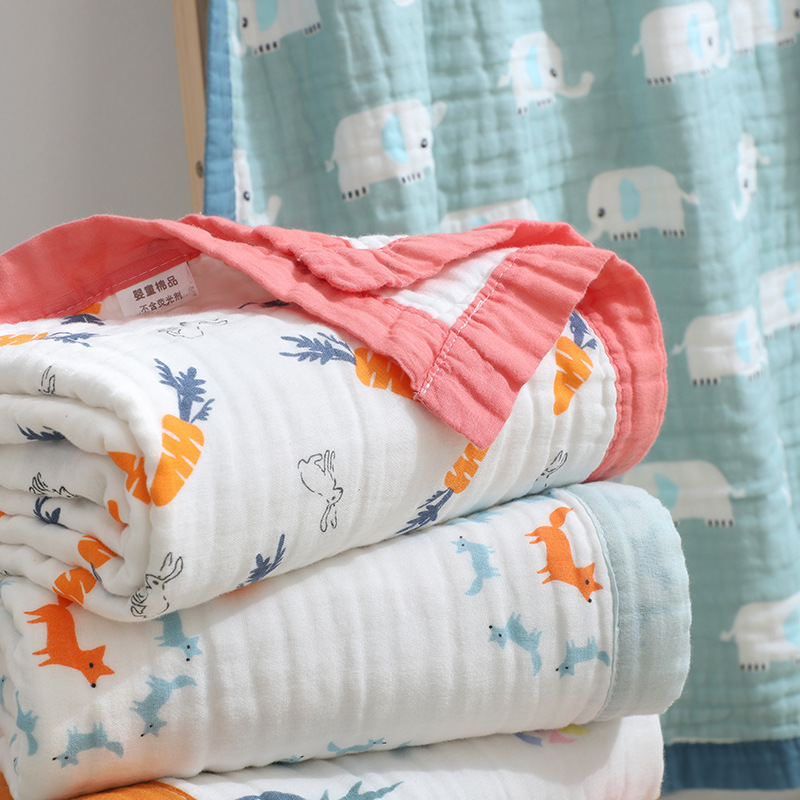 120X150cm 6 Layers Big Size Baby Muslin Cotton Elephant Bordure Baby Summer Blanket Baby Receiving Blanket Baby Wrap Infant Wrap