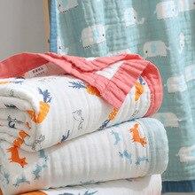 120X150cm 6 strati di grande formato del bambino mussola di cotone elefante bordure di estate del bambino coperta del bambino coperta di ricezione del bambino wrap infant wrap