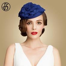 FS Royal Blue Weddings Hats For Women Elegant Fascinator Black Hat Wool Fedora Flower Church Dress Pillbox Derby Ladies