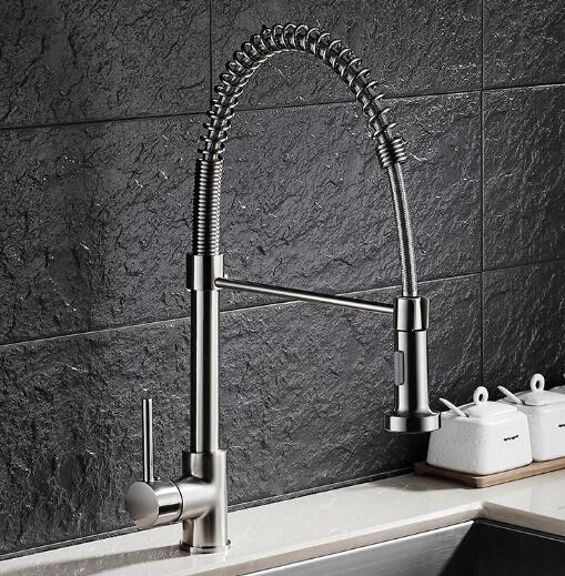 Free Shipping Brass Nickel Spring Pull Out Kitchen Faucet Sink Faucet luxury Hot Cold luxury Water
