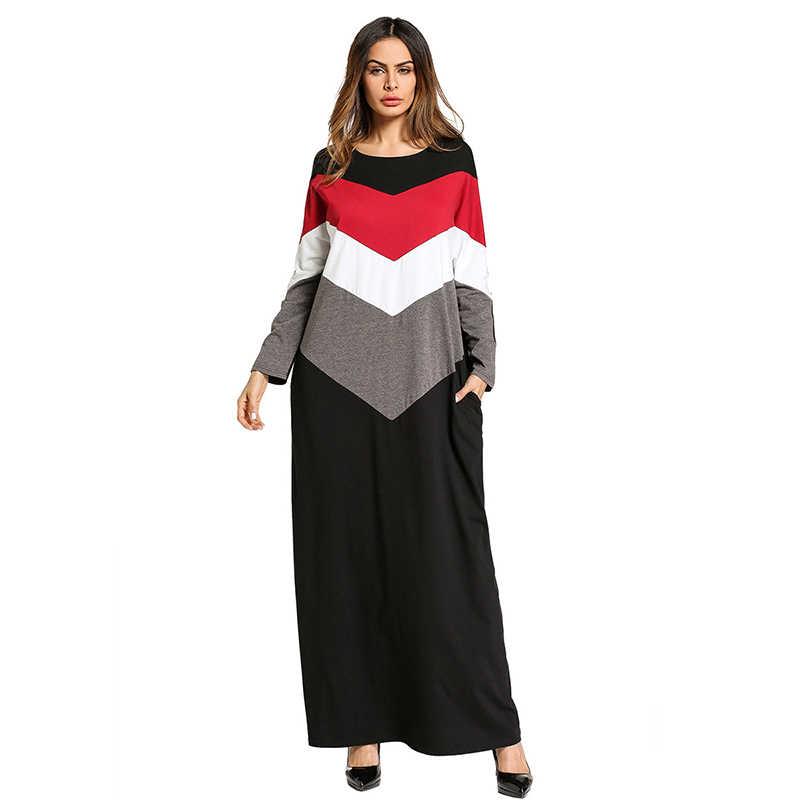 42b35704728 Повседневное мусульманский абайя в полоску платье макси кимоно длинный  халат платья свободные Стиль плюс Размеры Jubah