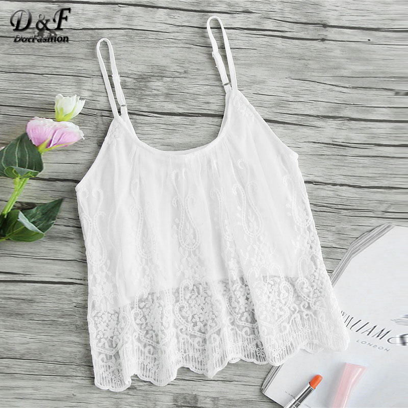 Dotfashion Scallop Embroidered Mesh Overlay Cami Top White Spaghetti Strap Sexy Crop Top Women 2018 Summer Sleeveless Camisole