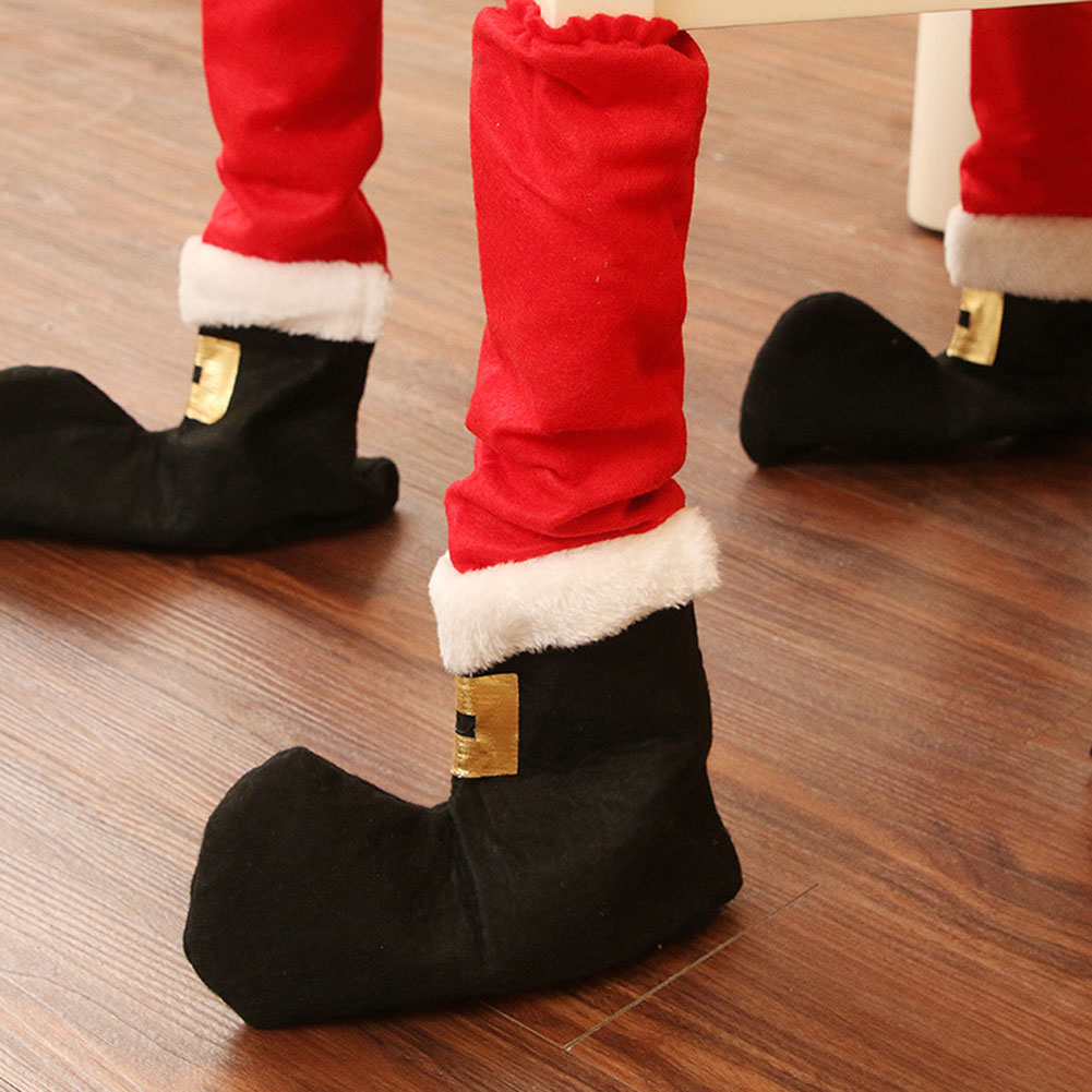 Christmas Dining Table Foot Covers Stocking Chair Leg Feet Socks Party Decor hot in Stockings Gift Holders from Home Garden